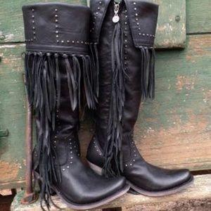 Black cowboy boots fringe gypsy festival tall otk